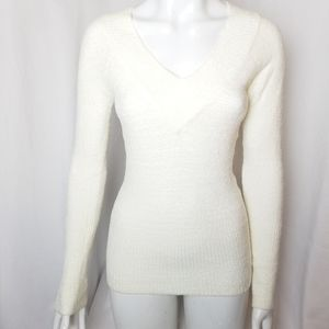 Seduction white soft v-neck sweater